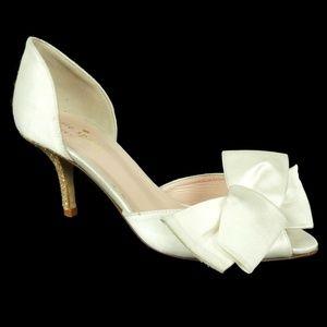 Kate Spade Sala Pumps Satin Ivory Bow Size 5